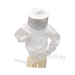 Blusa branca de tecido resistente com zíper redond