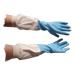 Blue latex glove.