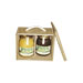 Wooden gift box with two 1kg honey cans.